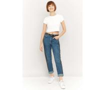 Mom Jeans in Blau mit seitlichen Kontraststreifen