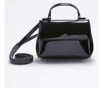 Kleine Umhängetasche in schwarzer Lackoptik mit Umschlag