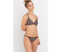 Mehrfarbig gestreifte Bikinihose mit Riemchen