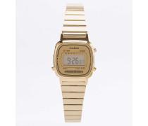 Armbanduhr mit goldfarbenem Zifferblatt