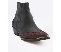 """Ankle Boots """"Tina"""" im Westernstyle in Schwarz und Burgunderrot"""