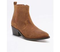 """Ankle Boots """"Polly"""" im Westernstyle aus Wildleder in Hellbraun"""