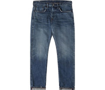 Regular Tapered Nihon Menpu Red x White Selvage Herren Jeans mid light used