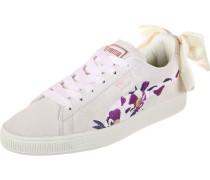 Suede Bow Flowery Damen Schuhe beige