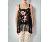 Bluse Fransentop mit Floral-Stickerei