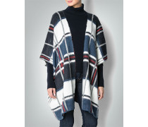 Damen Pullover Cape im Karo-Look