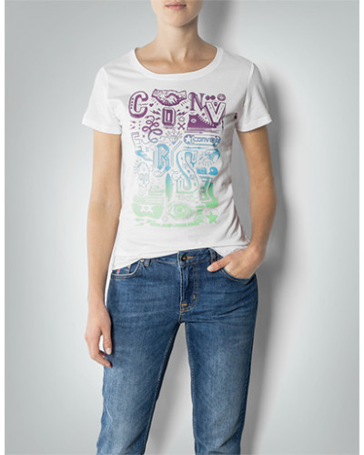 Damen T-Shirt mit Label-Frontprint