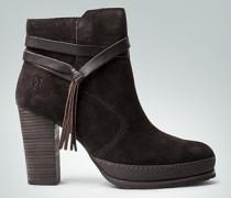 Damen Schuhe Stiefelette mit Zierbans und Fransen