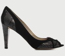 Damen Schuhe Pumps Velours-Schlangenimitat