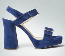 Damen Schuhe Plateau-Sandalen aus Veloursleder