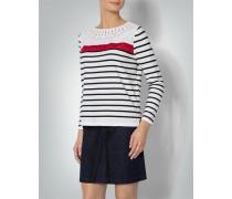 Damen Shirt im Streifen-Dessin mit Häkel-Einsatz