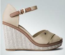 Damen Schuhe Wedges-Sandaletten mit Absatz aus Bast