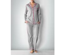 Damen Nachtwäsche Pyjama mit Kontrastnähten