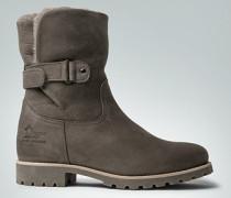 Damen Schuhe Booties mit Lammfell und Klettriegel