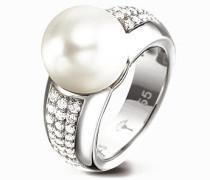 Schmuck Ring, Zirkonia-Perle, 925er Sterlingsilber