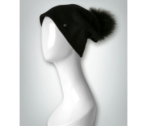 Damen Wollmütze mit Fellbommel