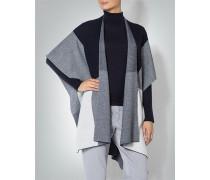 Damen Pullover Poncho im Karo-Look