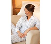 Damen Nachtwäsche Baumwolle weiß-blau kariert
