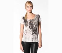 Damen T-Shirt Baumwolle creme-grau