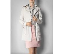 Damen Mantel Kurztrench aus beschichtetem Leinen