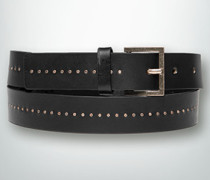 Damen Gürtel Ledergürtel mit feiner Kupfernieten-Linie