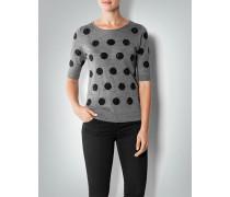 Damen Kurzarm-Pullover im Polka-Dot Design