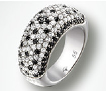 Schmuck Ring, Zirkonia weiß/schwarz, 925er Sterlingsilber