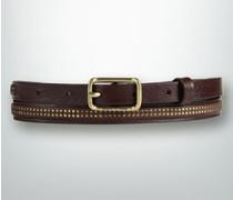 Damen Gürtel Leder dunkel, gold ca. 13 mm