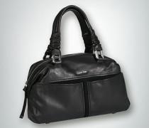 Damen Bowling Bag im Glatt-Veloursleder-Mix