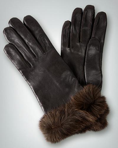 Handschuhe aus Lammnappa mit Kaninchenfellbesatz