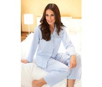 Damen Nachtwäsche Baumwolle weiß-blau gestreift