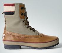 Damen Schuhe Schnürstiefelette aus Leder-Textil