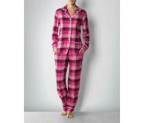 Damen Nachtwäsche Pyjama im Karo-Look