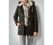 Damen Mantel Parka aus gewachster Baumwolle