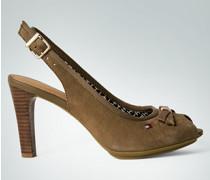 Damen Schuhe Peeptoe Sandalette aus Veloursleder