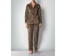 Damen Nachtwäsche Pyjama aus Microfleece mit Leo-Dessin