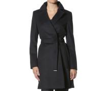 Damen Mantel Wollmischung dunkel