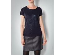 Damen Kurzarm-Pullover mit Metallic Print