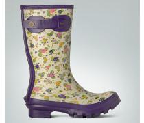 Damen Schuhe Gummistiefel mit Blumen-Print ,violett