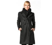 Damen Mantel Wollmischung anthrazit meliert