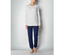 Damen Nachtwäsche Pyjama aus Baumwoll-Popeline