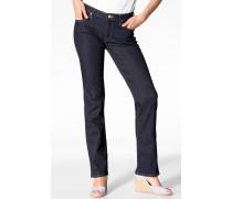 Damen Jeans 'Marion Straight' Regular Straight Baumwolle-Stretch solid blue