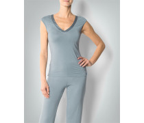 Damen Pyjama-Shirt mit Satin-Detail