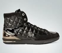 Damen Schuhe Sneaker aus gestepptem Leder mit modischen Lack-Details