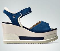 Damen Schuhe Plateau-Wedges im Leder-Mix