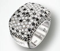 Damen Schmuck Ring Zirkonia weiß/schwarz 925er Sterlingsilber
