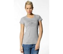 Damen T-Shirt Baumwolle hell meliert