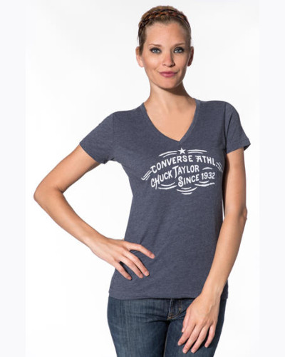 Damen T-Shirt Baumwolle navy meliert