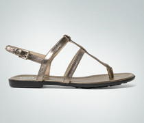 Damen Schuhe Zehensandale im Metallic-Look