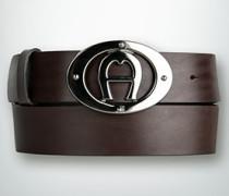 Damen Gürtel Ledergürtel mit Logo-Schließe